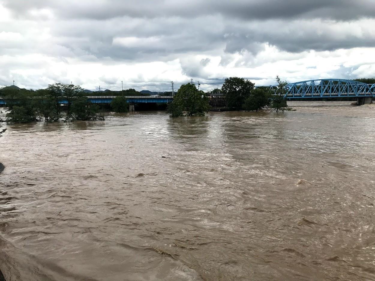 木曽川右岸堤防 豪雨増水